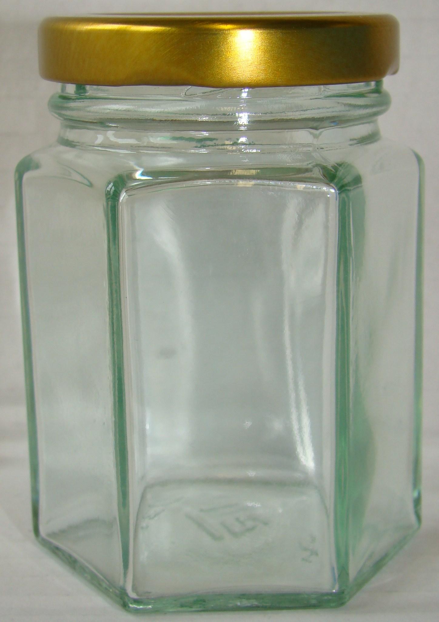 Hexagonale pot hexagonale pot 125 gram honing glazen honingpot glazen hexagonale honingpot - Deksel van de boom ...